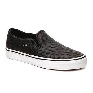 Vans black leather slip ons